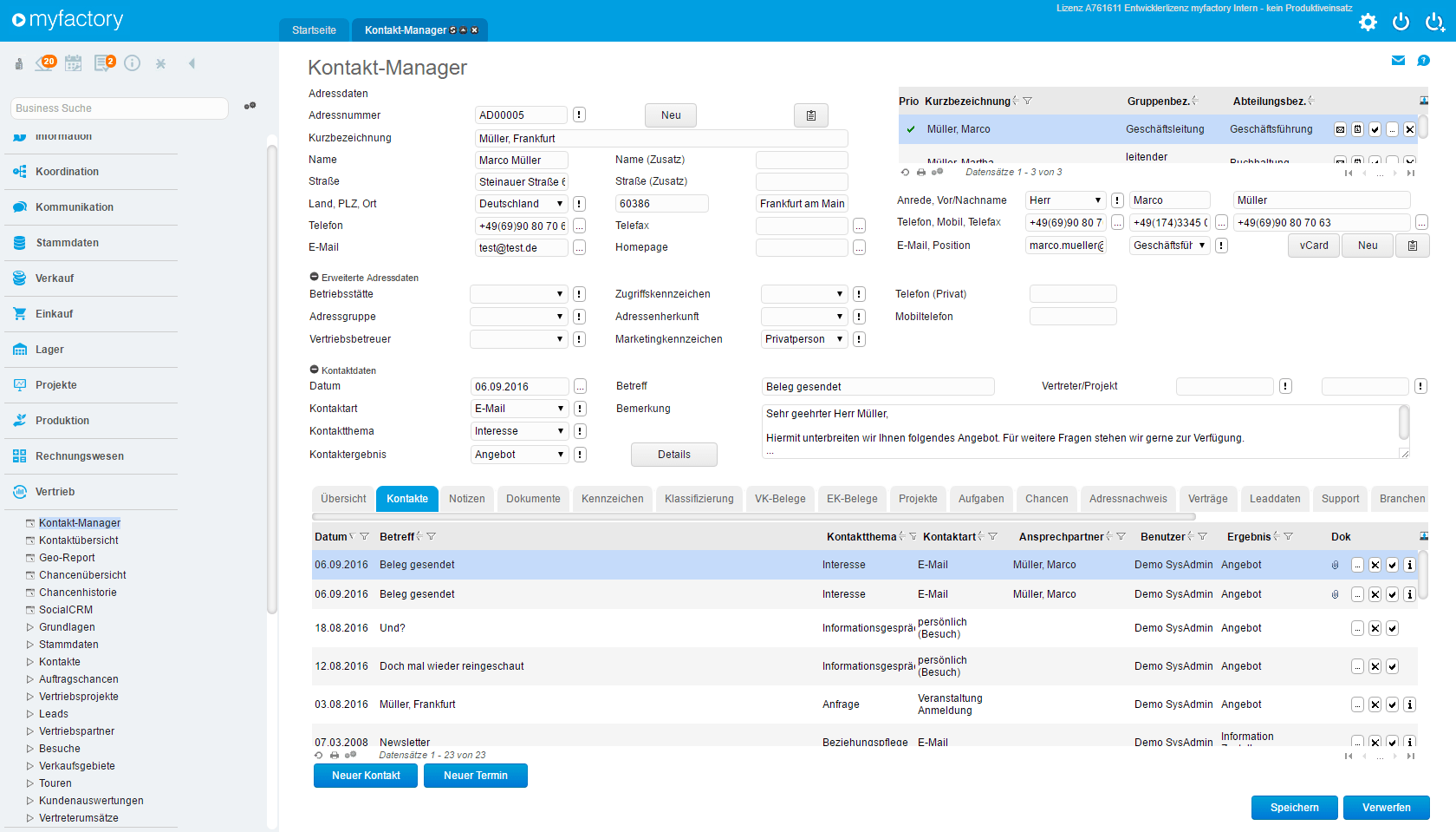 myfactory Kontakt-Manager